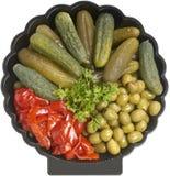 Assorted pickled appetizer. Fresh assorted pickled appetizer deli platter Royalty Free Stock Images