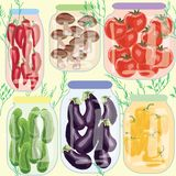Assorted pickled vegetables in cans pepper mushrooms cucumber tomatoes aubergine. Assorted pickled vegetables in cans pepper mushrooms cucumbers tomatoes vector illustration