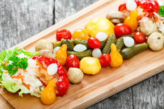 Assorted pickled vegetables - Sauerkraut cabbage, peppers, cucumbers, tomatoes, onions, mushrooms and herbs on cutting board Royalty Free Stock Photos