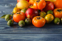 Assorted pile of different colorful fake fruits and vegetables Royalty Free Stock Photos
