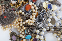 Assorted pile of jewellery Stock Images