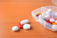 Assorted pill box close up Royalty Free Stock Photo