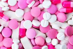 Assorted pills as background. Medical treatment. Assorted pills as background, top view. Medical treatment royalty free stock photos