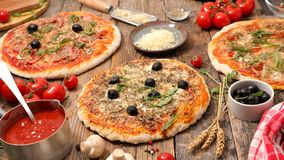 Assorted pizza with ingredient Stock Photos