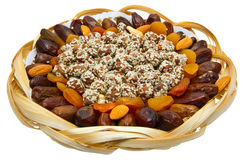 Assorted pizza. Peanuts and almonds with dried fruits Royalty Free Stock Photography