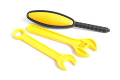 Assorted plastic toy tools Royalty Free Stock Photography