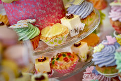 Assorted plates cakes Royalty Free Stock Photography