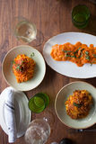Assorted Plates of Pasta on a Table. Fresh made pasta dishes on a wooden table Royalty Free Stock Photography