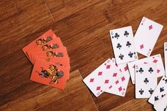 Assorted Playing Cards Flatlay Photography royalty free stock photography