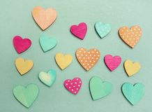 Pastel hearts on blue Stock Image