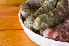 Assorted pork sausages Royalty Free Stock Images