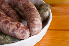 Assorted pork sausages Royalty Free Stock Photo