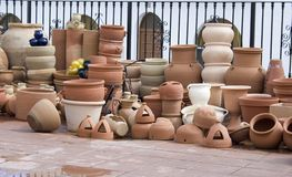 Assorted Pottery. And pots in the town of Sorbas royalty free stock photography