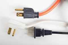 Assorted power plugs. With different color and style Royalty Free Stock Photo