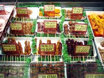 Assorted processed meat on display at a store Royalty Free Stock Images