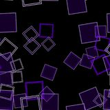 Scattered Squares Purple. Assorted purple squares over a black background in a digitally created seamless tiling image Royalty Free Stock Photos