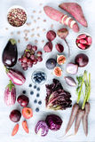 Assorted purple toned fruits and vegetables as a collection Royalty Free Stock Photo