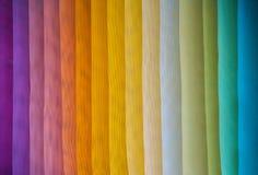 Assorted rainbow colored fabrics. Assorted rainbow color dyed fabrics Stock Image