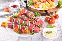 Raw beef barbecue. Assorted of raw beef barbecue Stock Images