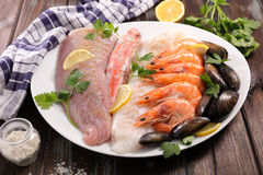 Assorted raw fish Stock Image