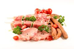Assorted raw meats stock images