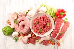 Assorted raw meats. Composition,above stock photo