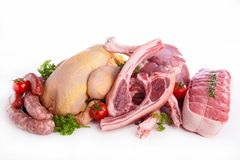 Assorted raw meats royalty free stock image