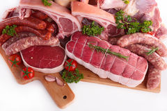 Assorted raw meats Royalty Free Stock Photos