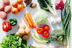Assorted raw organic vegetables. Composition with assorted raw organic vegetables Royalty Free Stock Images