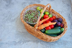 Assorted raw organic vegetables and fruits Stock Image