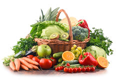 Assorted raw organic vegetables and fruits. Composition with assorted raw organic vegetables and fruits. Detox diet Stock Images