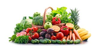 Assorted raw organic vegetables isolated on white Stock Photos