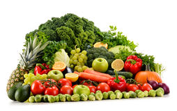 Assorted raw organic vegetables on white Royalty Free Stock Photo
