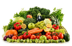 Assorted raw organic vegetables on white Stock Photo
