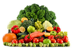 Assorted raw organic vegetables on white Royalty Free Stock Photography