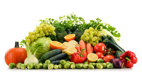 Assorted raw organic vegetables on white Royalty Free Stock Image