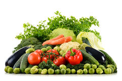 Assorted raw organic vegetables on white Royalty Free Stock Images