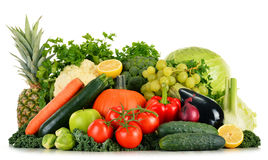 Assorted raw organic vegetables on white Stock Photos