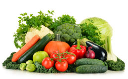 Assorted raw organic vegetables on white Stock Photography