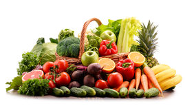 Assorted raw organic vegetables on white Stock Images
