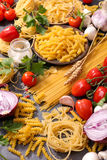 Assorted raw pasta Royalty Free Stock Image