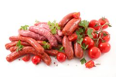 Assorted raw sausage. For barbecue Stock Photos
