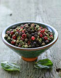 Assorted red, black and green pepper in a bowl Stock Photos