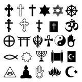 Assorted religions symbolc icons set. Stock Image
