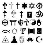 Assorted religions symbolc icons set. Vector illustration collection - christian cross buddha koran david star menora half moon Stock Image