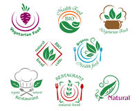 Assorted restaurant and vegetarian food symbols or. Signs depicting vegetarian food health food natural bio food cafe, organic health food, organic natural Royalty Free Stock Photo