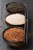 Assorted rice in bowl and chopsticks Royalty Free Stock Images