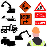 Assorted roadwork illustrations Royalty Free Stock Photo