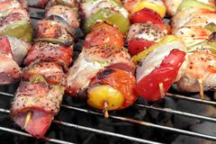 Assorted Roasted Meat with Vegetable On Barbecue Flaming Grill Stock Photography