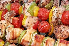 Assorted Roasted Meat with Vegetable On Barbecue Flaming Grill Royalty Free Stock Photos